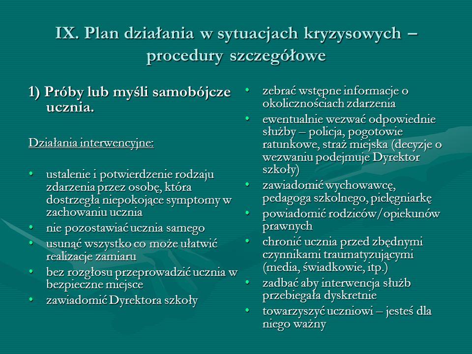 IX. Plan działania w sytuacjach kryzysowych – procedury szczegółowe