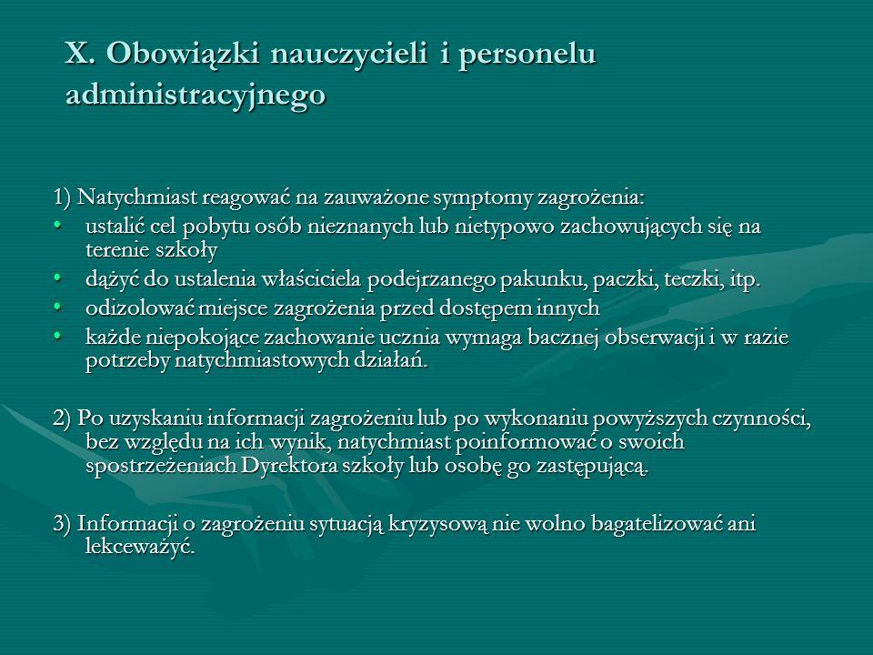 X. Obowiązki nauczycieli i personelu administracyjnego
