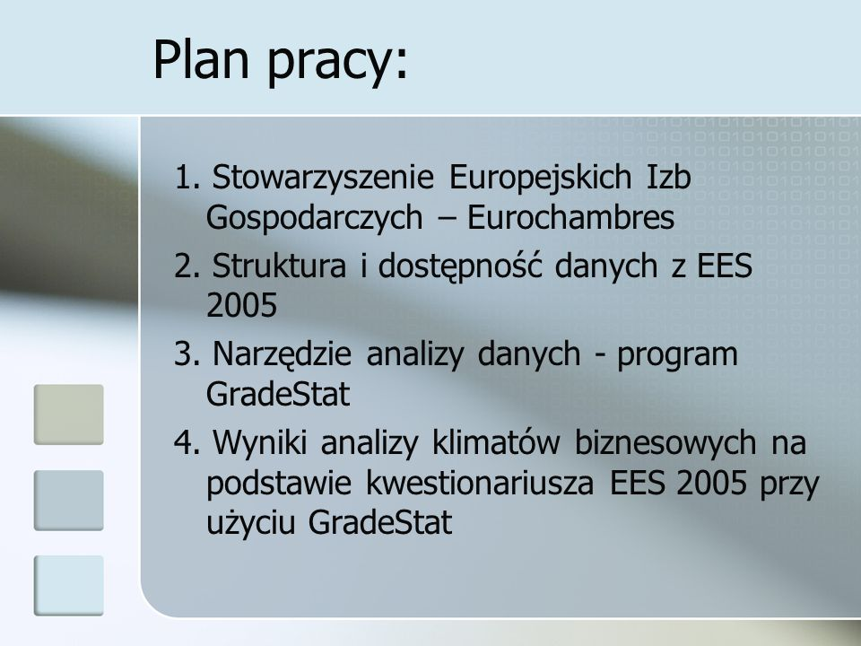 Plan pracy: 1. Stowarzyszenie Europejskich Izb Gospodarczych – Eurochambres. 2. Struktura i dostępność danych z EES 2005.