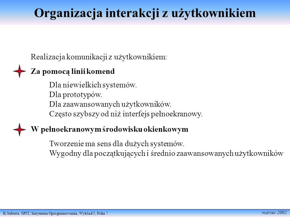 Organizacja interakcji z użytkownikiem