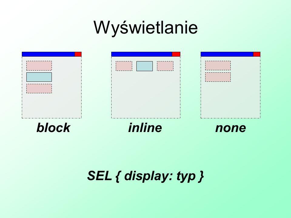 Wyświetlanie block inline none SEL { display: typ }