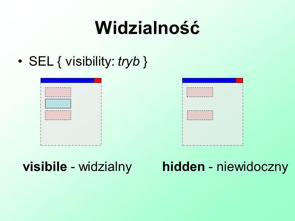 Widzialność SEL { visibility: tryb } visibile - widzialny