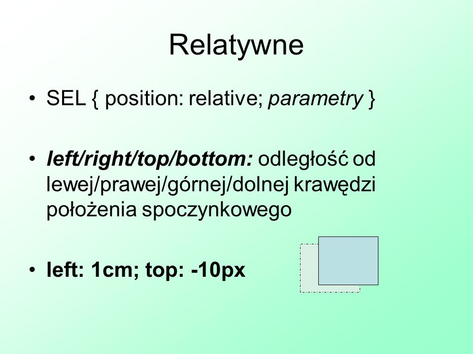Relatywne SEL { position: relative; parametry }