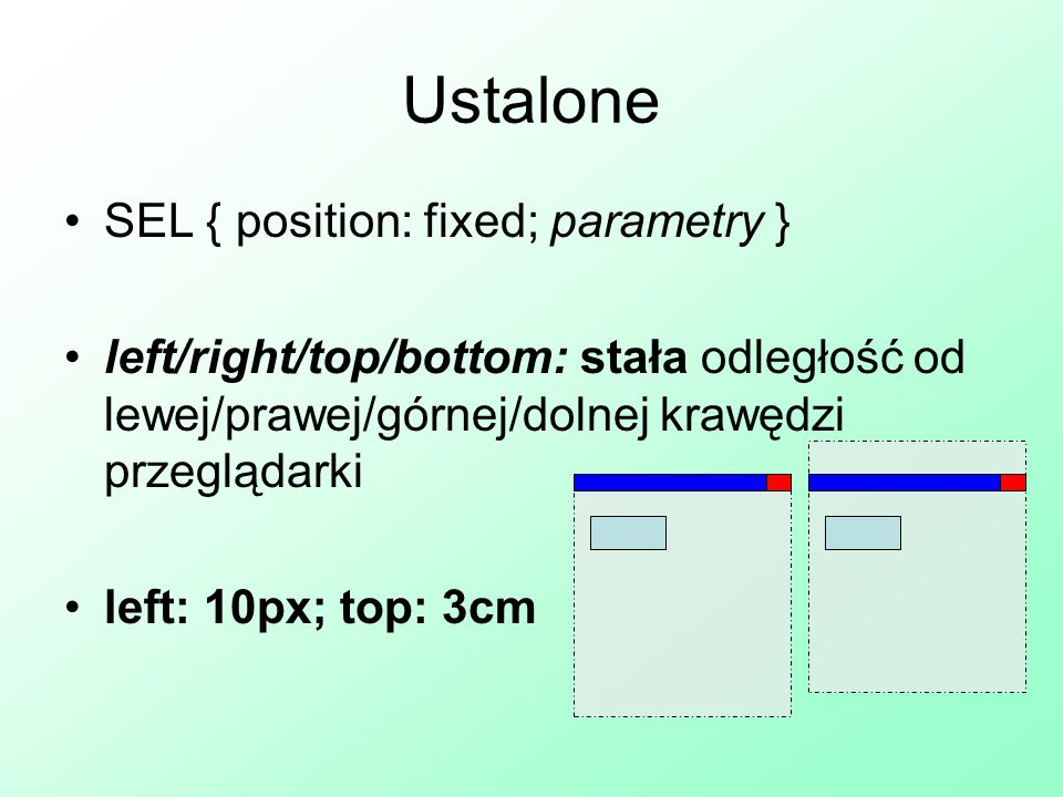 Ustalone SEL { position: fixed; parametry }