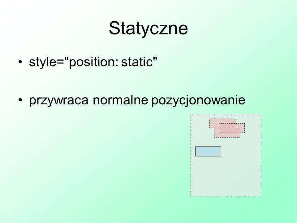 Statyczne style= position: static przywraca normalne pozycjonowanie