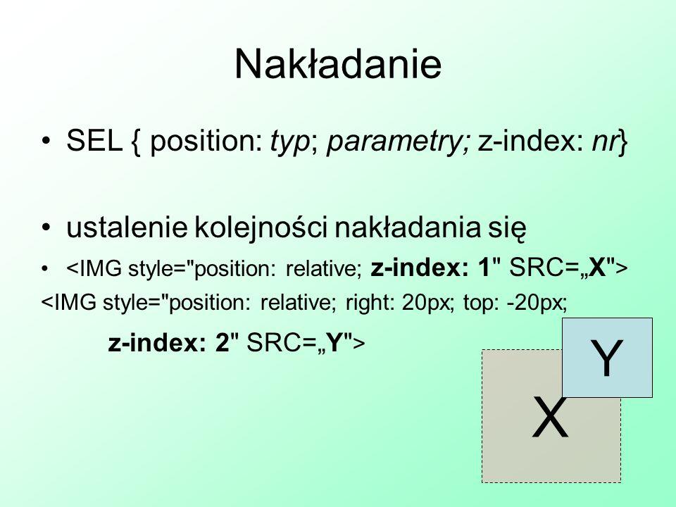 X Y Nakładanie SEL { position: typ; parametry; z-index: nr}