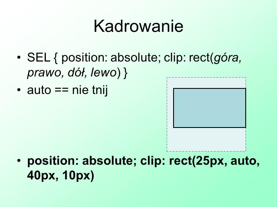 Kadrowanie SEL { position: absolute; clip: rect(góra, prawo, dół, lewo) } auto == nie tnij.