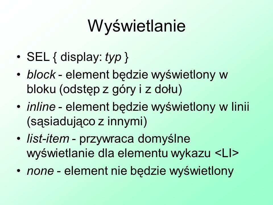 Wyświetlanie SEL { display: typ }