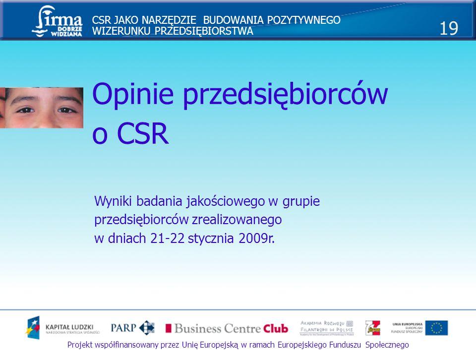 Opinie przedsiębiorców o CSR