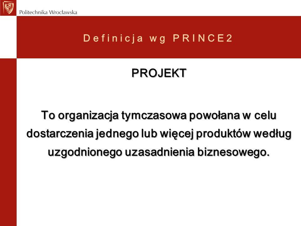 Definicja wg PRINCE2 PROJEKT.