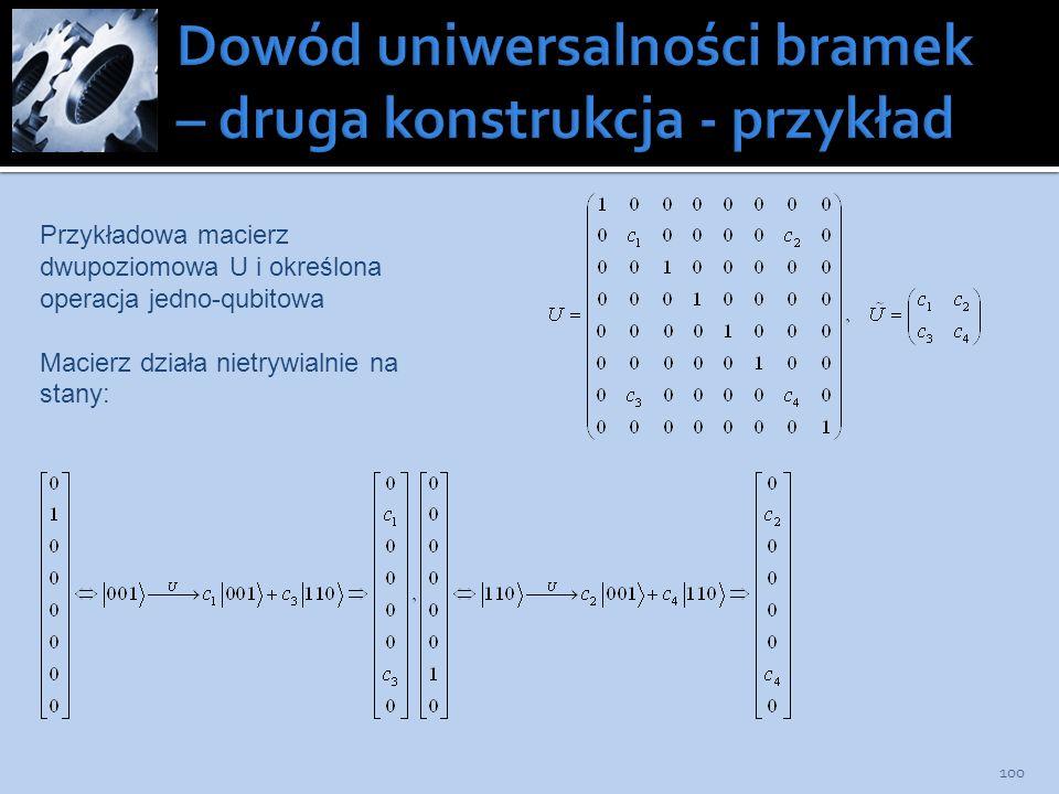 Dowód uniwersalności bramek – druga konstrukcja - przykład