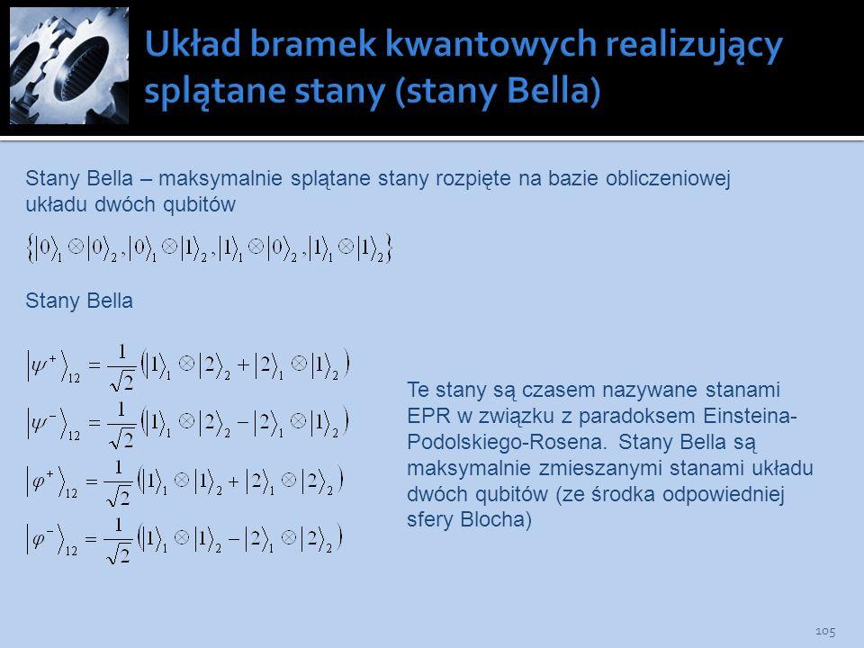 Układ bramek kwantowych realizujący splątane stany (stany Bella)