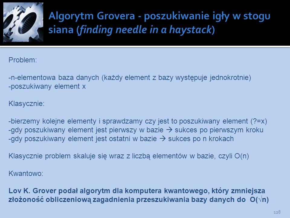 Algorytm Grovera - poszukiwanie igły w stogu siana (finding needle in a haystack)