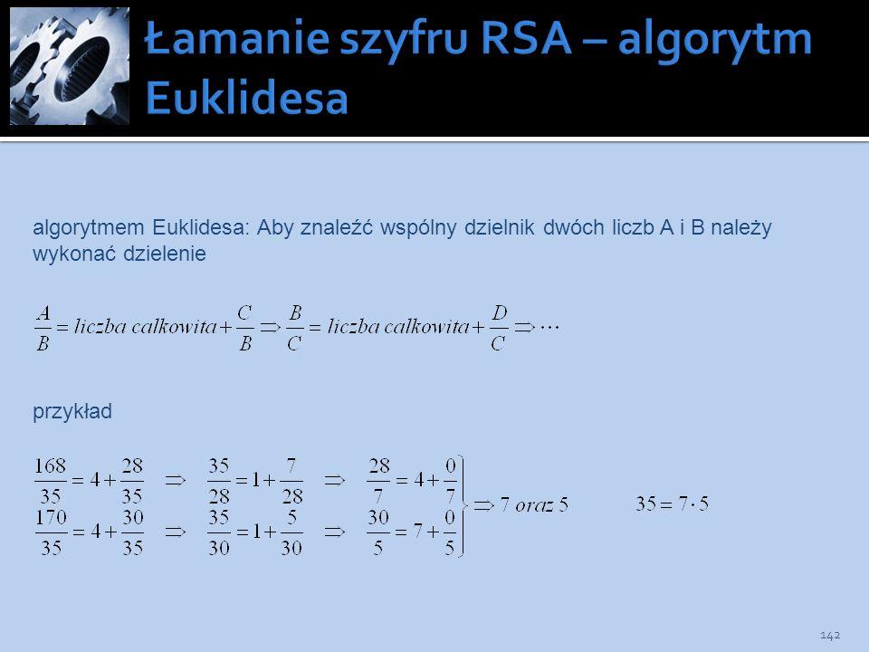 Łamanie szyfru RSA – algorytm Euklidesa