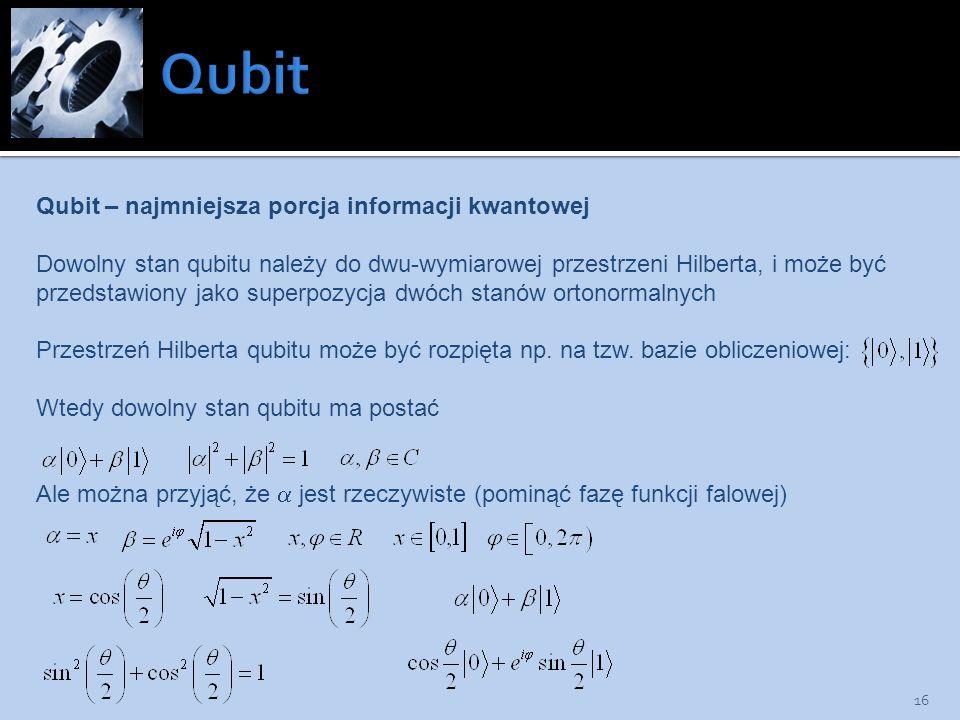 Qubit Qubit – najmniejsza porcja informacji kwantowej