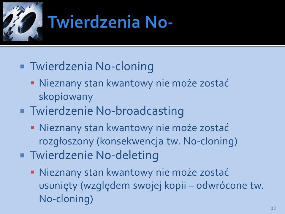 Twierdzenia No- Twierdzenia No-cloning Twierdzenie No-broadcasting