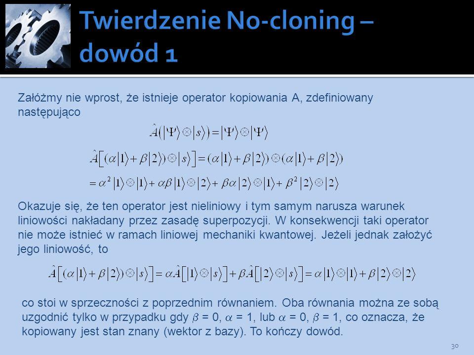 Twierdzenie No-cloning – dowód 1