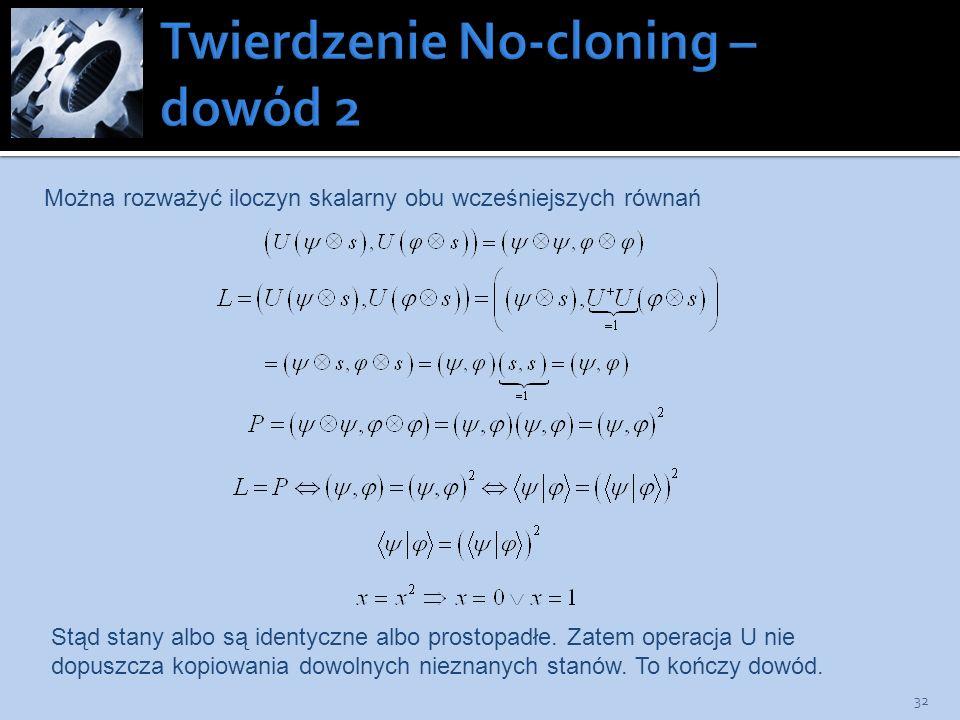 Twierdzenie No-cloning – dowód 2