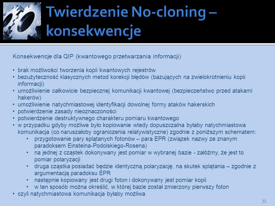 Twierdzenie No-cloning – konsekwencje