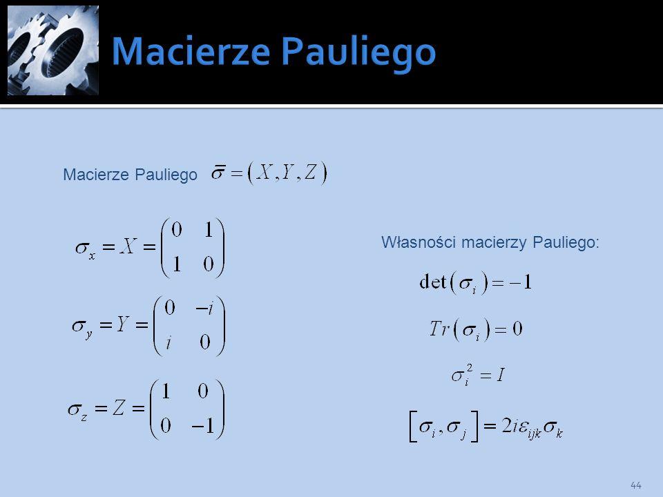 Macierze Pauliego Macierze Pauliego Własności macierzy Pauliego: