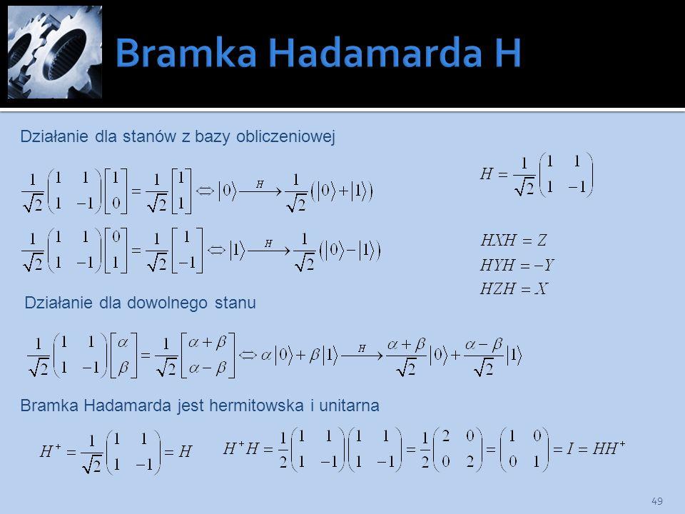 Bramka Hadamarda H Działanie dla stanów z bazy obliczeniowej