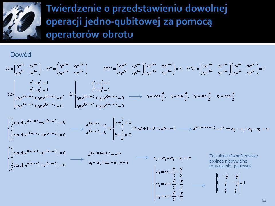 Twierdzenie o przedstawieniu dowolnej operacji jedno-qubitowej za pomocą operatorów obrotu
