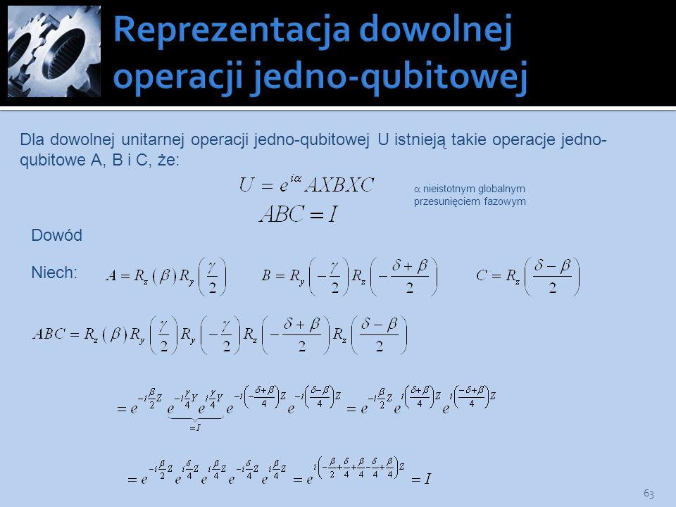 Reprezentacja dowolnej operacji jedno-qubitowej