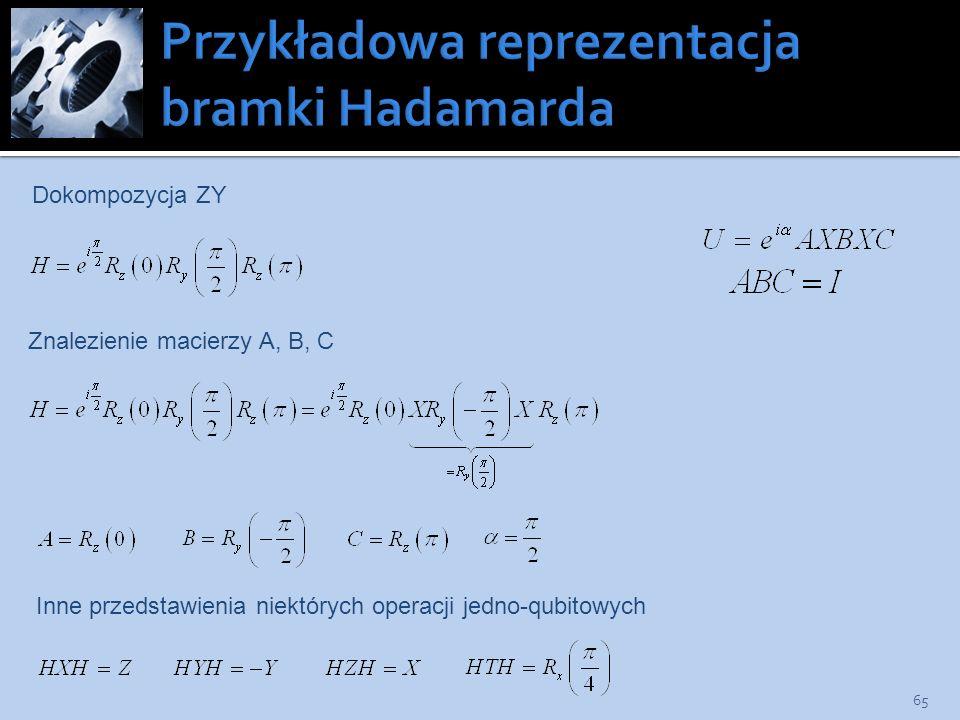 Przykładowa reprezentacja bramki Hadamarda