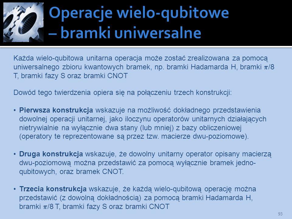 Operacje wielo-qubitowe – bramki uniwersalne