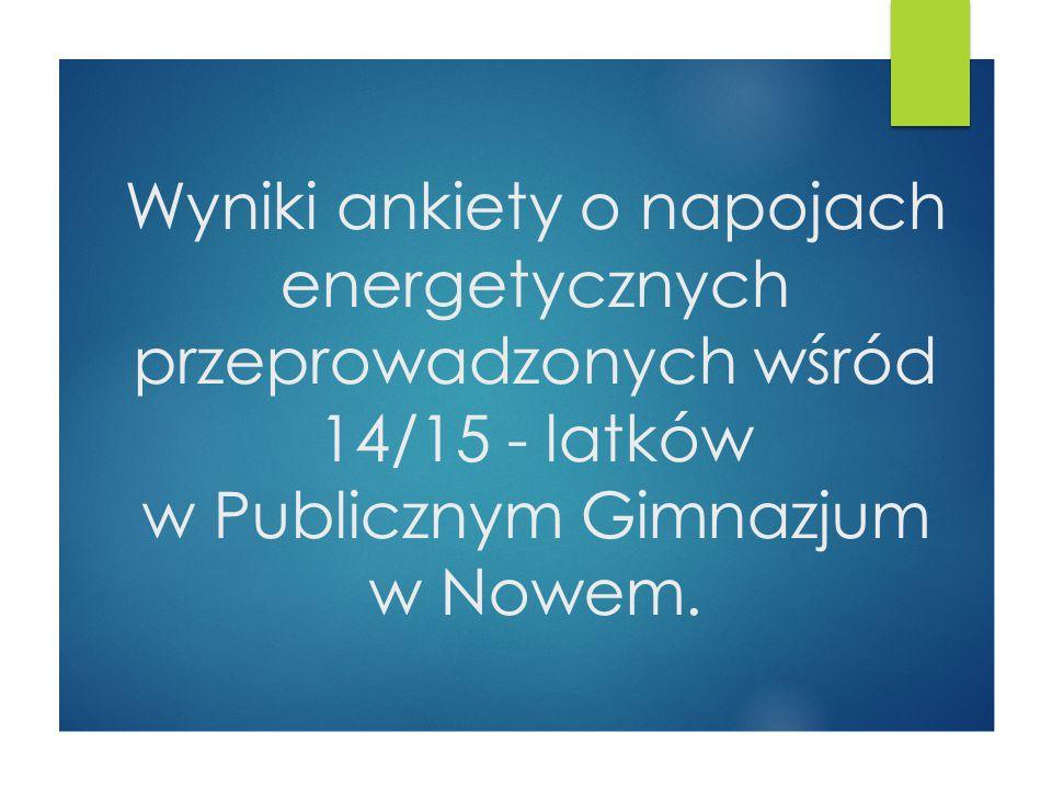 Wyniki ankiety o napojach energetycznych przeprowadzonych wśród 14/15 - latków w Publicznym Gimnazjum w Nowem.