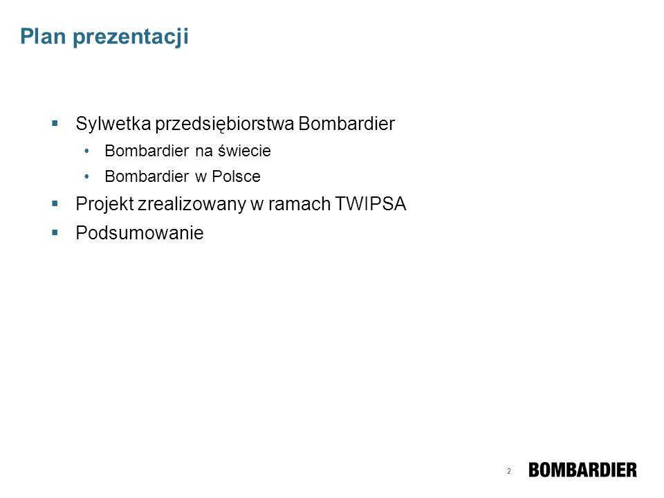 Plan prezentacji Sylwetka przedsiębiorstwa Bombardier