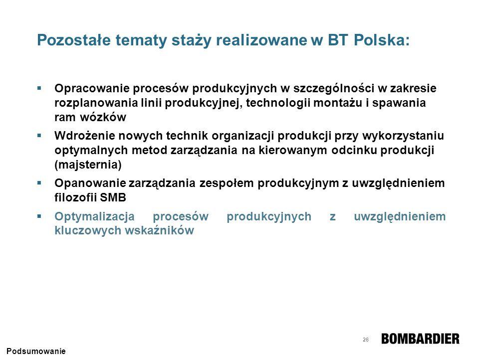 Pozostałe tematy staży realizowane w BT Polska: