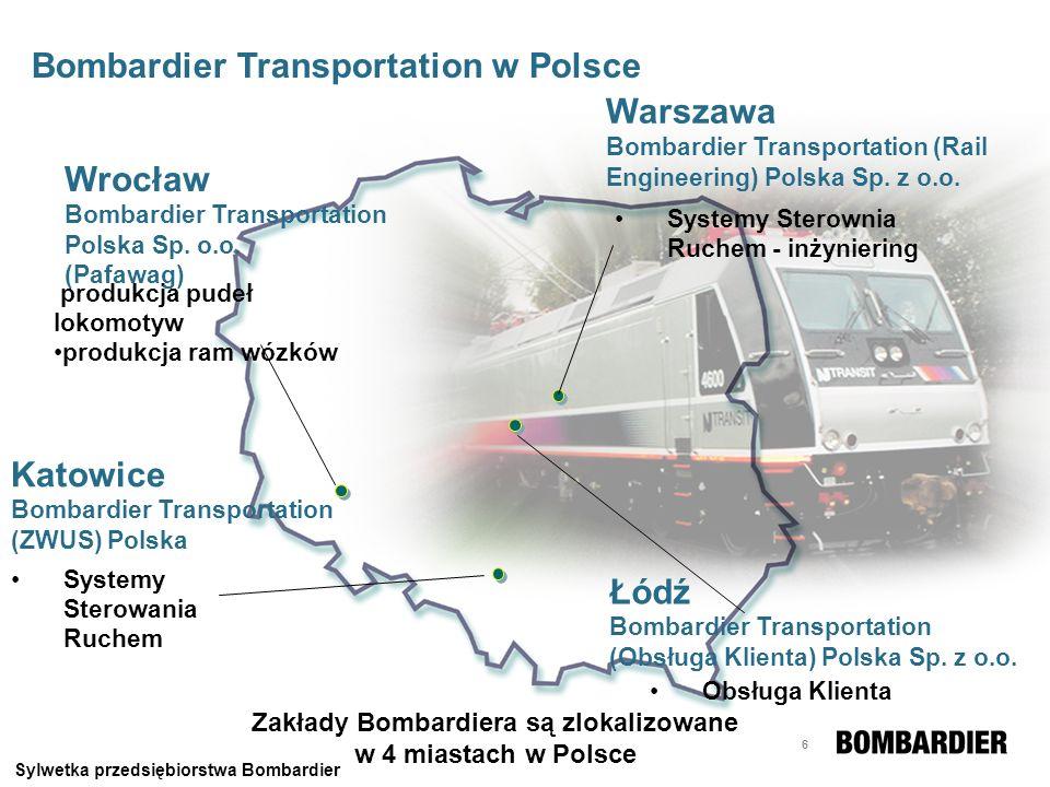 Zakłady Bombardiera są zlokalizowane w 4 miastach w Polsce