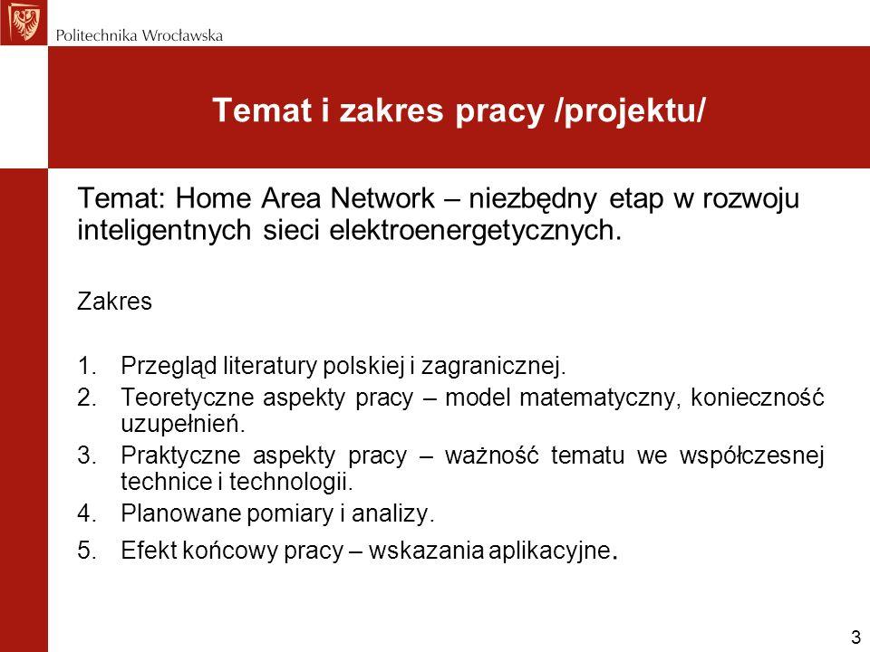 Temat i zakres pracy /projektu/