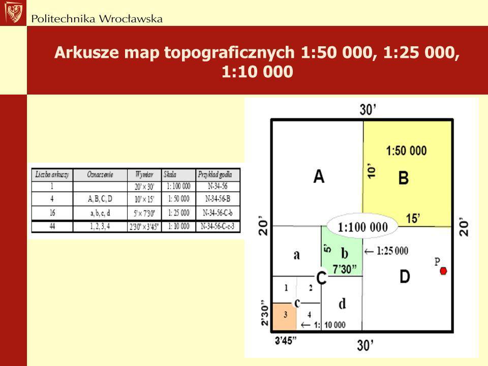 Arkusze map topograficznych 1:50 000, 1:25 000, 1:10 000