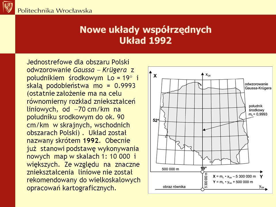 Nowe układy współrzędnych Układ 1992