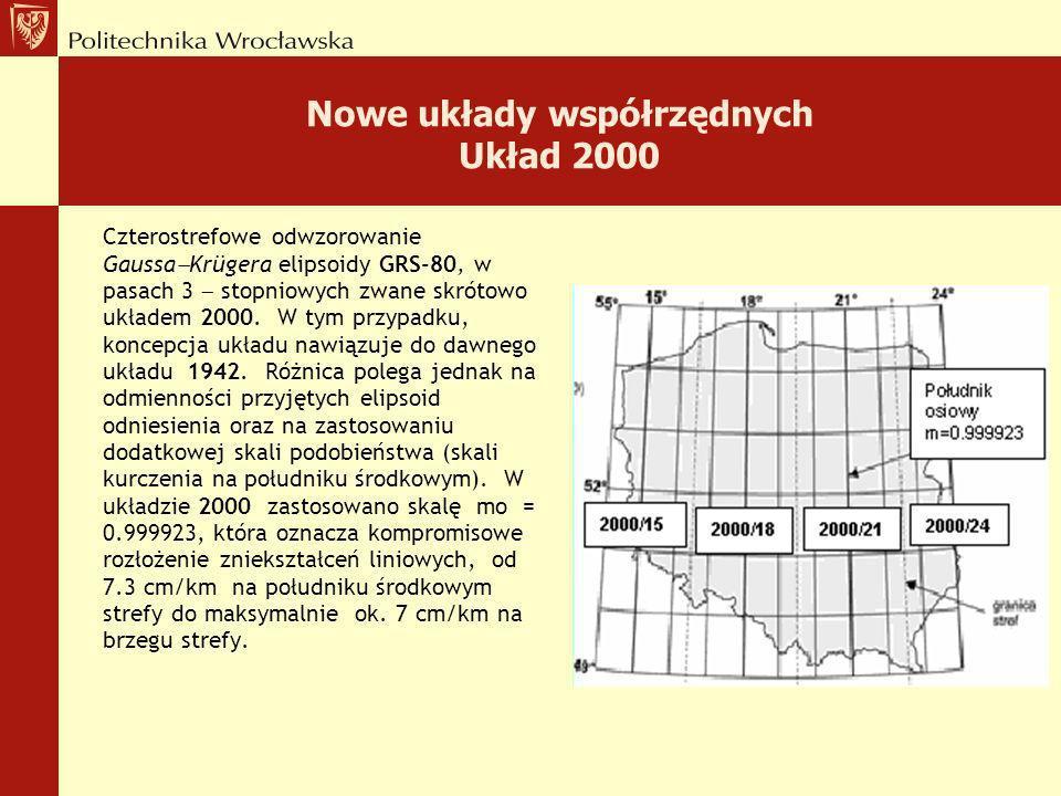 Nowe układy współrzędnych Układ 2000