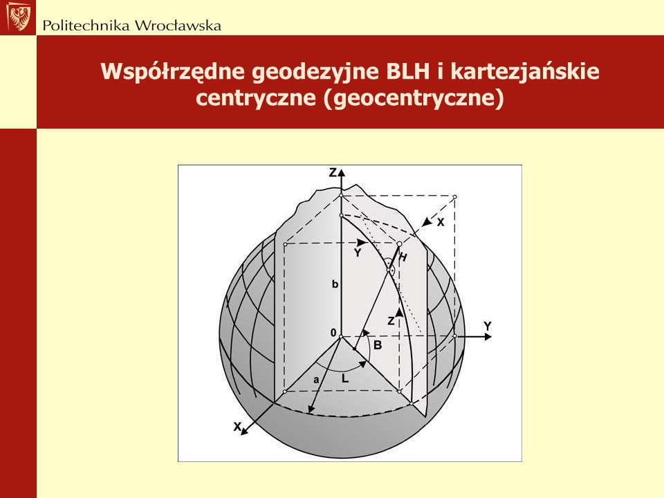Współrzędne geodezyjne BLH i kartezjańskie centryczne (geocentryczne)