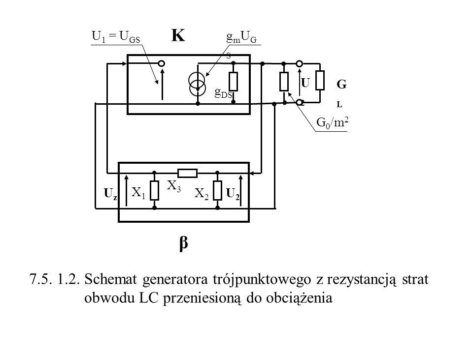 K β 7.5. 1.2. Schemat generatora trójpunktowego z rezystancją strat