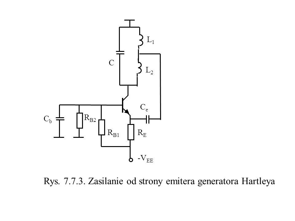 Rys. 7.7.3. Zasilanie od strony emitera generatora Hartleya