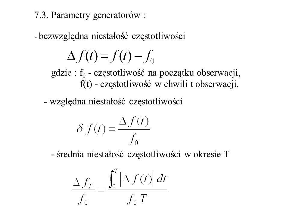 7.3. Parametry generatorów :