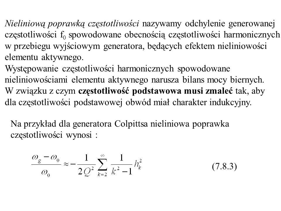 Nieliniową poprawką częstotliwości nazywamy odchylenie generowanej