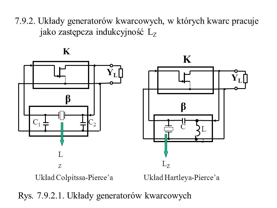 K β β 7.9.2. Układy generatorów kwarcowych, w których kwarc pracuje