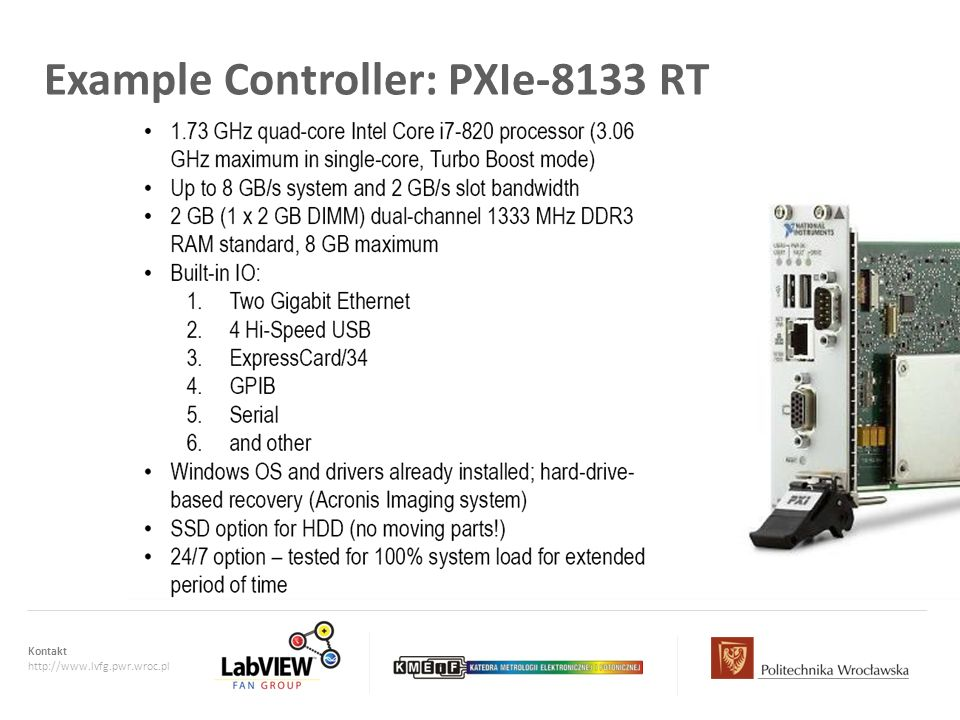 Example Controller: PXIe-8133 RT