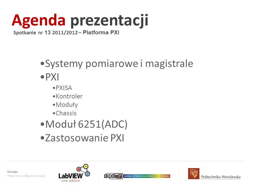 Agenda prezentacji Systemy pomiarowe i magistrale PXI Moduł 6251(ADC)