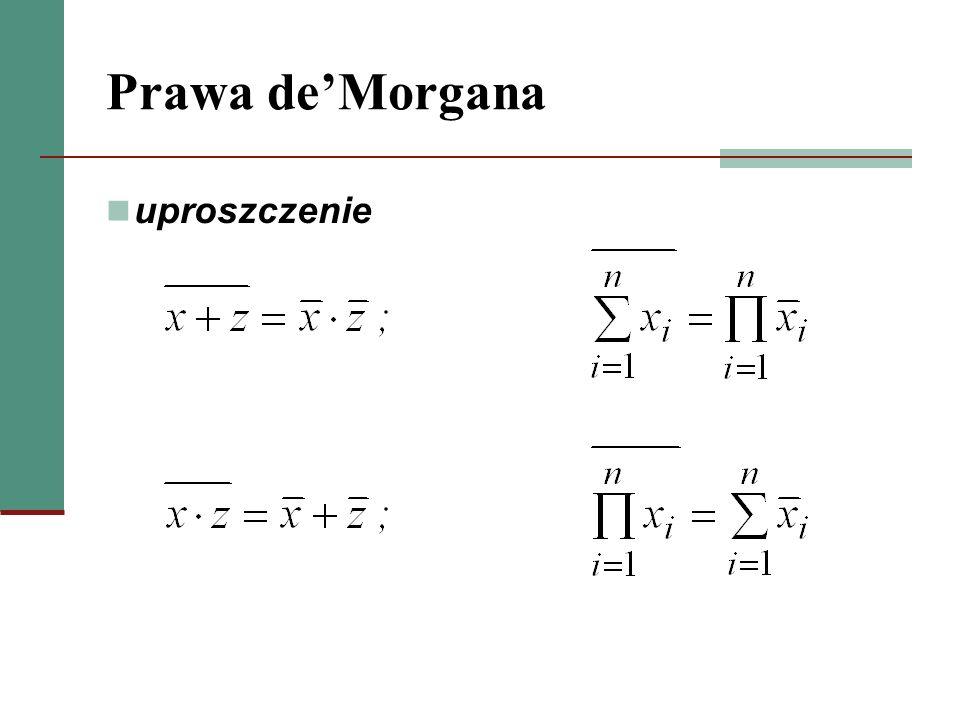 Prawa de'Morgana uproszczenie