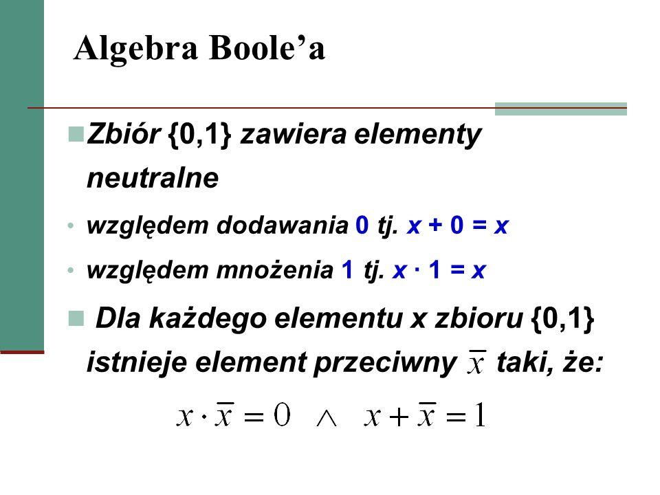 Algebra Boole'a Zbiór {0,1} zawiera elementy neutralne