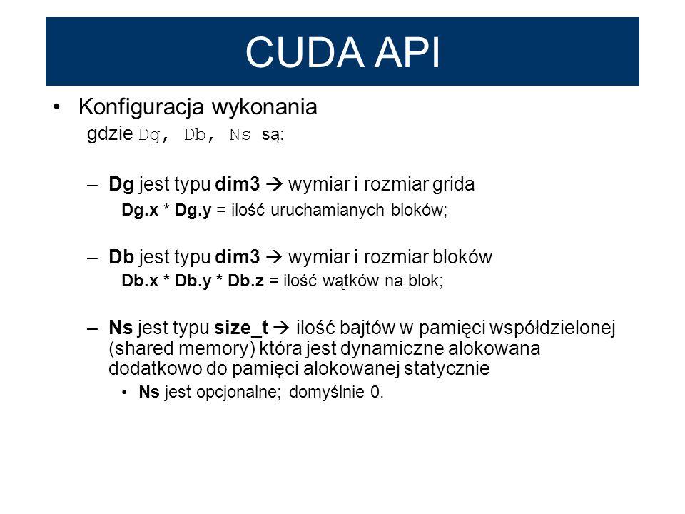 CUDA API Konfiguracja wykonania gdzie Dg, Db, Ns są: