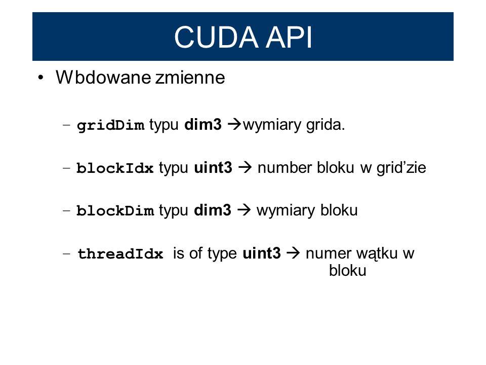 CUDA API Wbdowane zmienne gridDim typu dim3 wymiary grida.