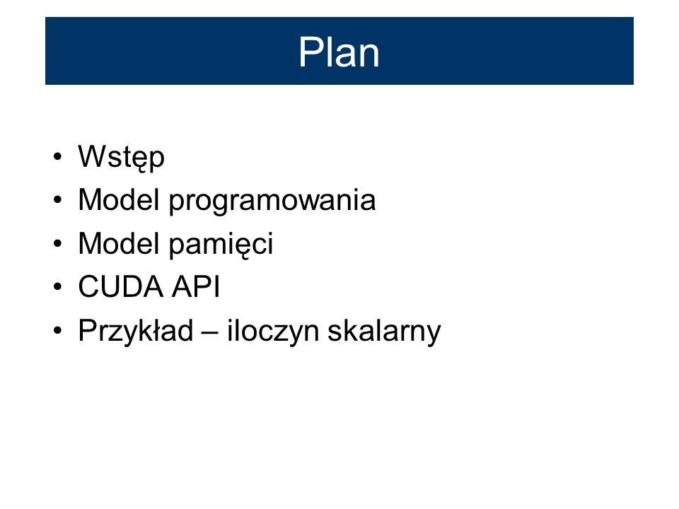 Plan Wstęp Model programowania Model pamięci CUDA API